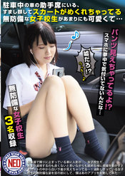「駐車中の車の助手席にいる、すまし顔してスカートがめくれちゃってる無防備な女子校生があまりにも可愛くて…」のパッケージ画像